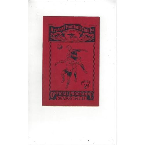 1934/35 Arsenal v Liverpool Football Programme