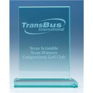 Jade Glass Rectangle Award - 18cm x 12.5cm x 19mm