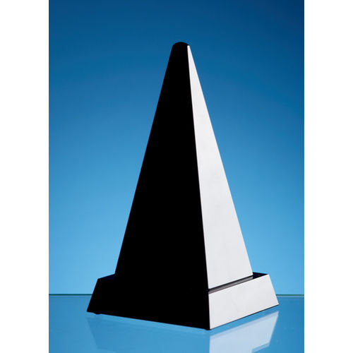 Onyx Black Optic Crystal Pyramid Award 16.5cm