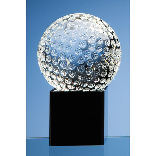 Optical Crystal Golf Ball on Onyx Black Optic Base 10cm
