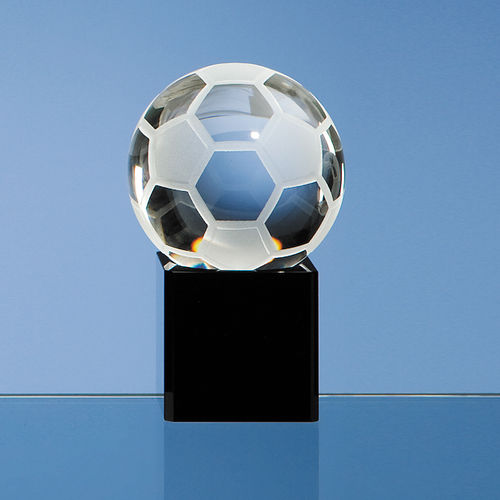 Optical Crystal Football on Onyx Black Optic Base 6cm