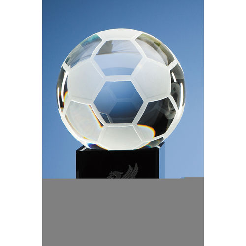 Optical Crystal Football on Onyx Black Optic Base 10cm