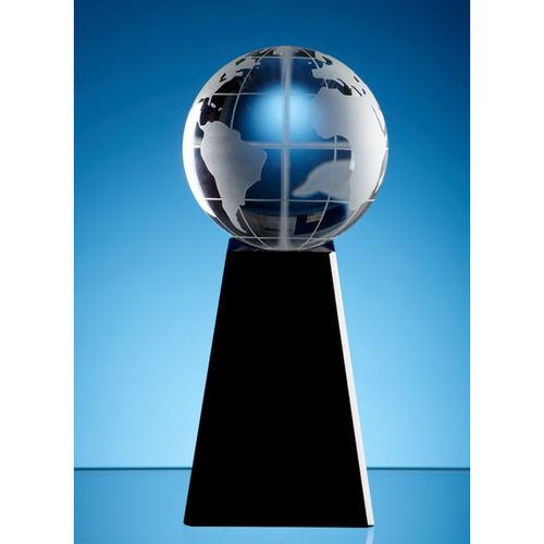 Optic Globe on Rectangular Onyx Black Optic Base 8cm