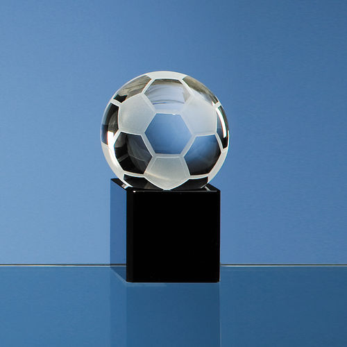 Optical Crystal Football on Onyx Black Optic Base 5cm