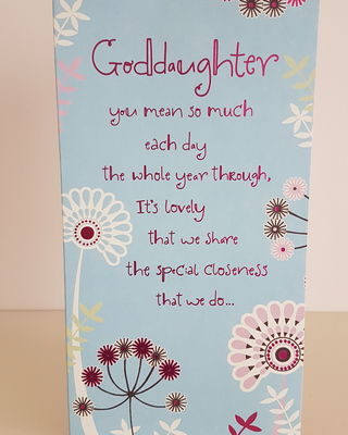 Grand Daughter Red Flowers Blue Birthday Card