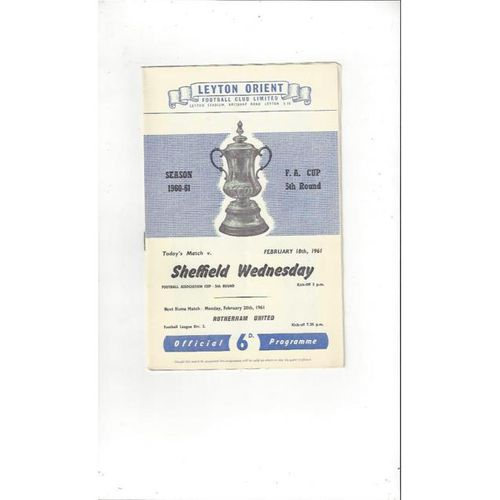 1960/61 Leyton Orient v Sheffield Wednesday FA Cup Football Programme