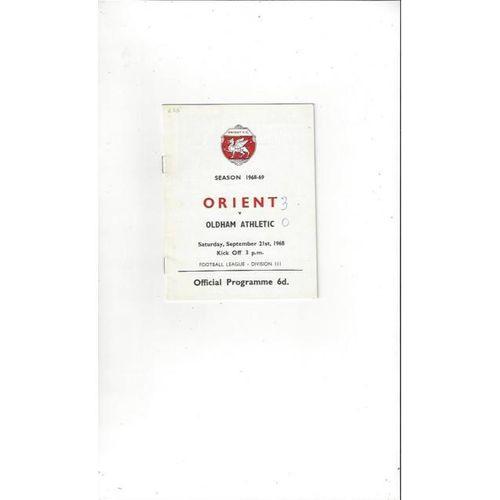 Leyton Orient v Oldham Athletic 1968/69
