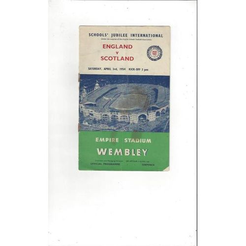 1954 England v Scotland Schools International Football Programme