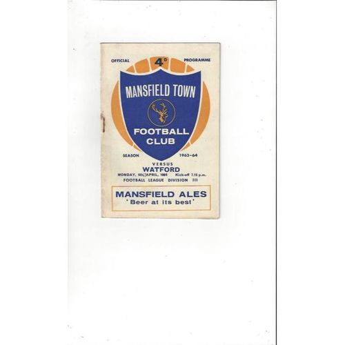 1963/64 Mansfield Town v Watford Football Programme