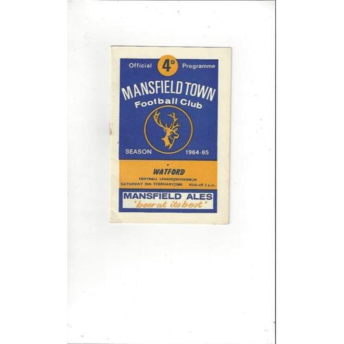 1964/65 Mansfield Town v Watford Football Programme