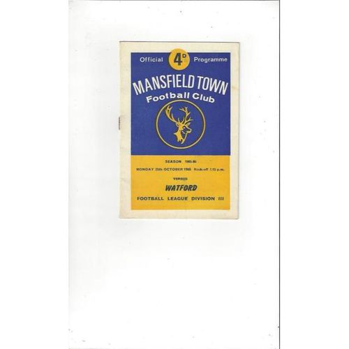1965/66 Mansfield Town v Watford Football Programme