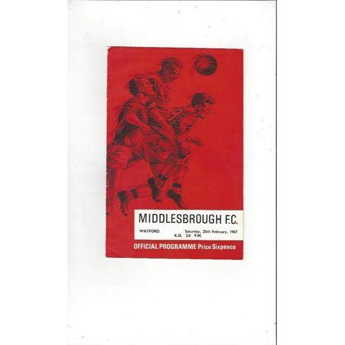 1966/67 Middlesbrough v Watford Football Programme