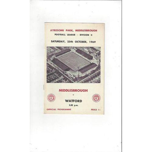 1969/70 Middlesbrough v Watford Football Programme
