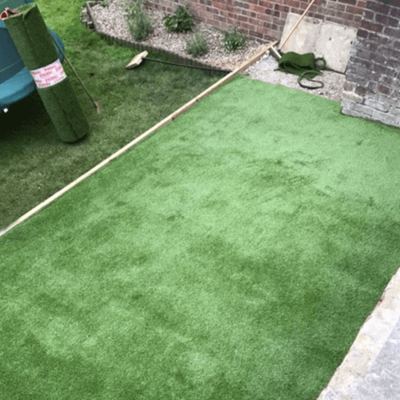 The artificial grass is installed