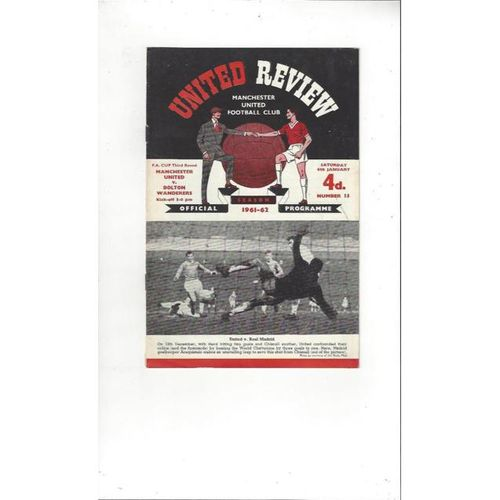 1961/62 Manchester United v Bolton Wanderers FA Cup Football Programme