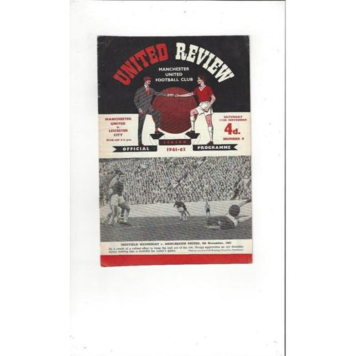 1961/62 Manchester United v Leicester City Football Programme