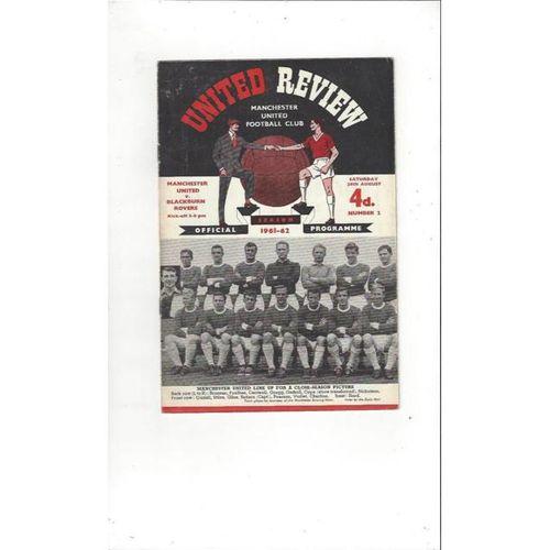 1961/62 Manchester United v Blackburn Rovers Football Programme