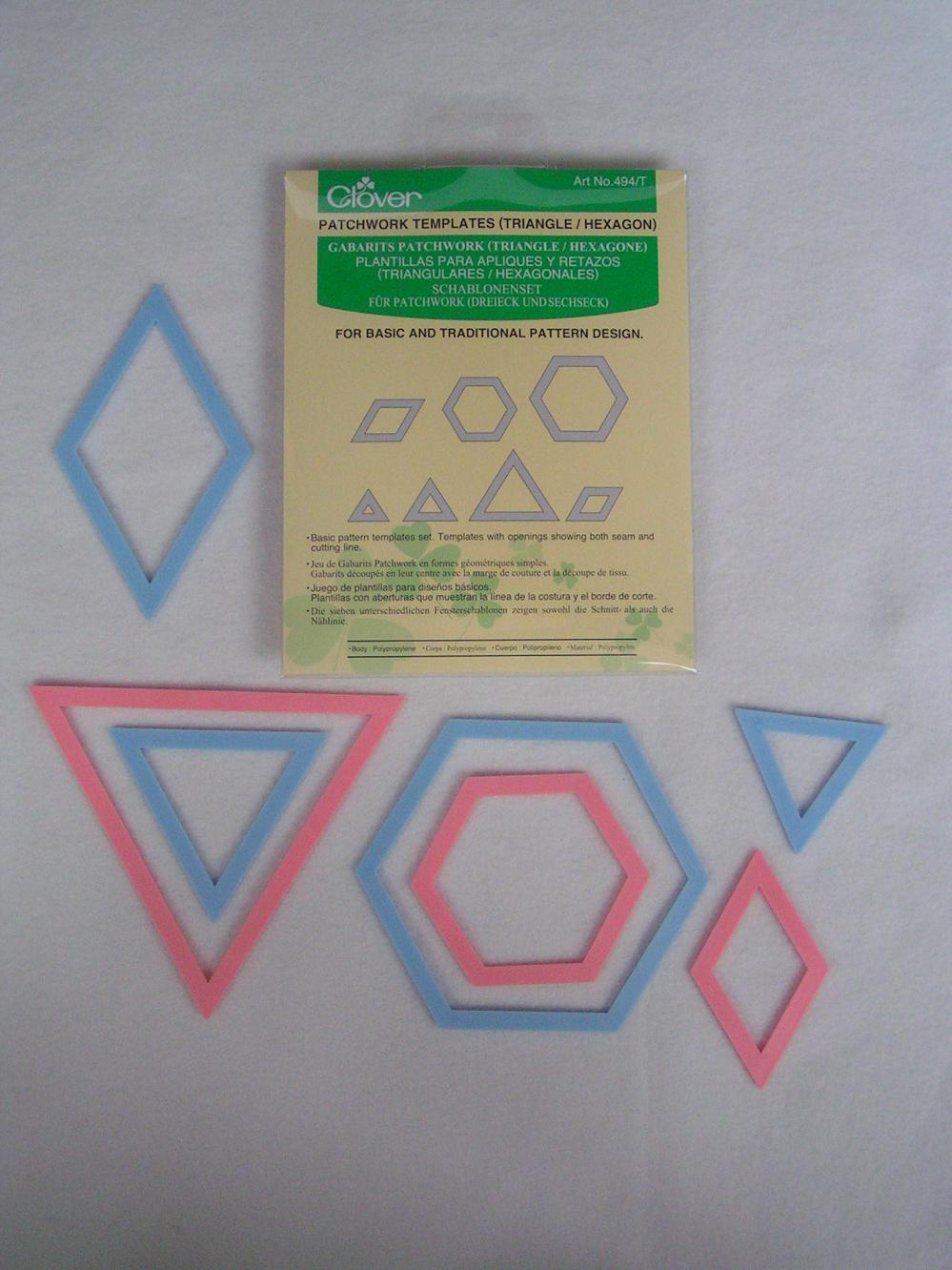 Patchwork templates for English paper piecing hexagons triangles ...
