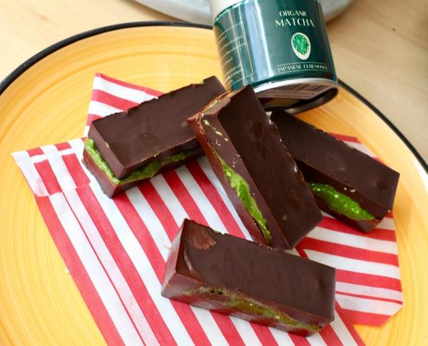 Raw Chocolate Filled Matcha Bars