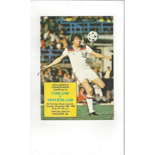 1980 England v Switzerland U21 International Football Programme @ Ipswich Town