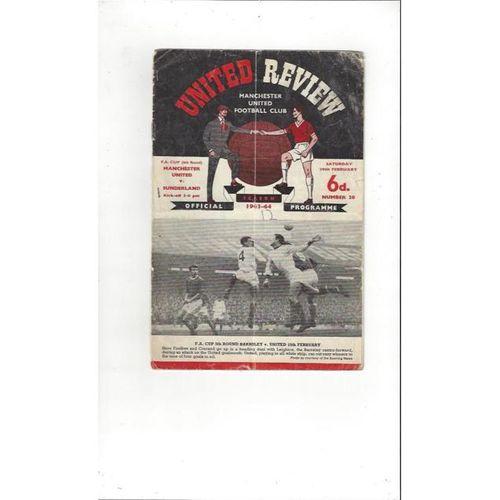 1963/64 Manchester United v Sunderland FA Cup Football Programme