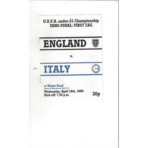 1984 England v Italy UEFA U21 International Championship Semi Final Football Programme @ Manchester City