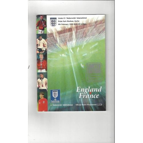 England v France U21 1999 International Football Programme Limited Edition Silver edition @ Derby County