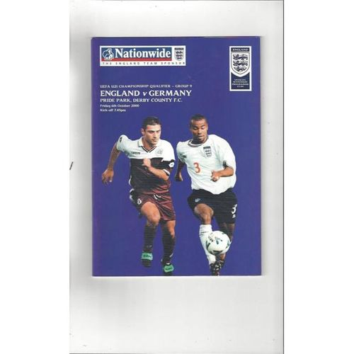 England v Germany U21 International Football Programme 2000 @ Derby County
