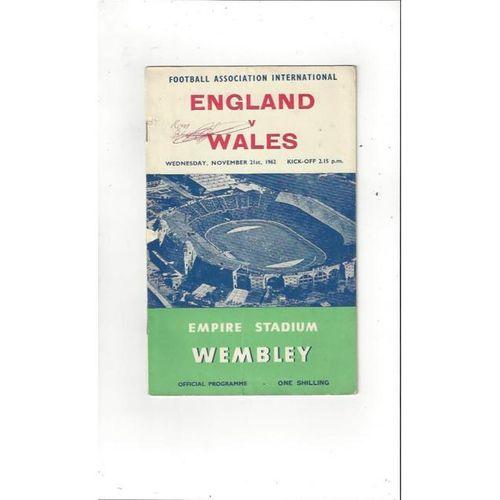 1962 England v Wales Football Programme