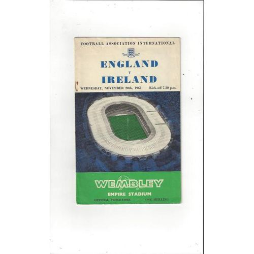 1963 England v Ireland Football Programme