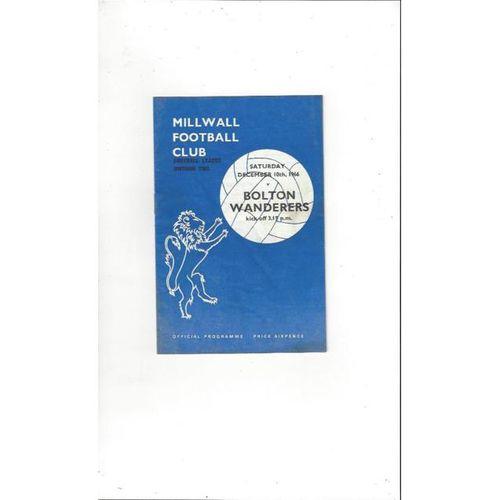 1966/67 Millwall v Bolton Wanderers Football Programme