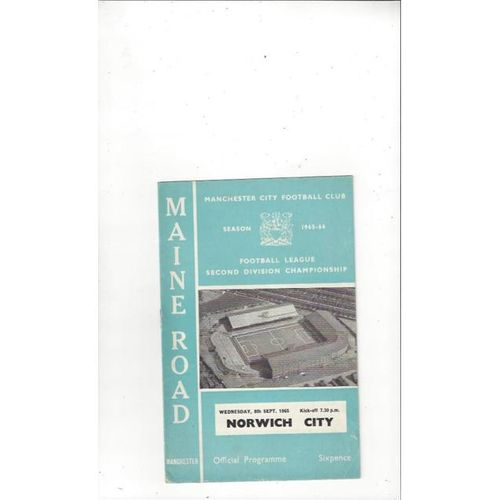 1965/66 Manchester City v Norwich City Football Programme