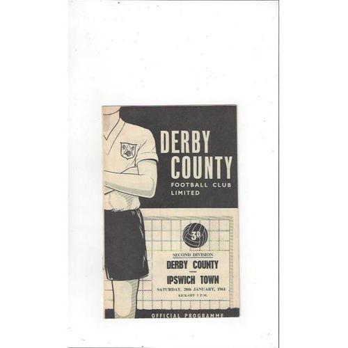 1960/61 Derby County v Ipswich Town Football Programme Jan
