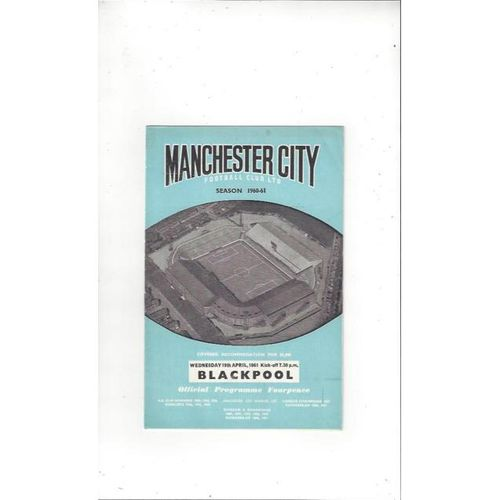 1960/61 Manchester City v Blackpool Football Programme