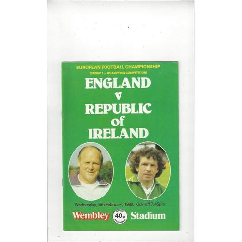 1980 England v Republic of Ireland Football Programme