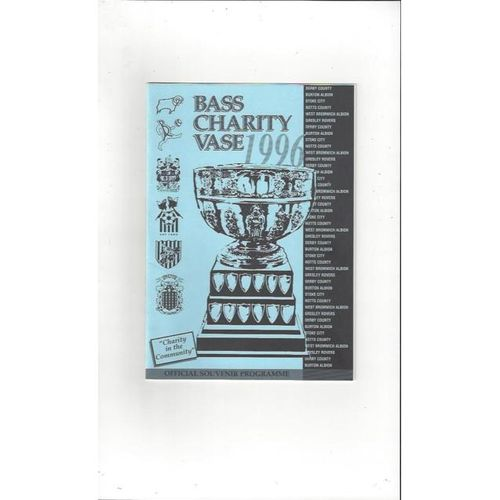 Bass Charity Vase 1996 Football Programme + 3 Team Sheets, Derby, Gresley, Notts County & Stoke City