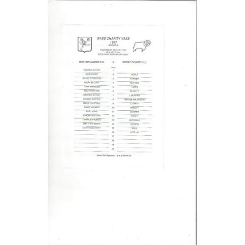 1997/98 Burton Albion v Derby County Bass Charity Vase Group B Team Sheet