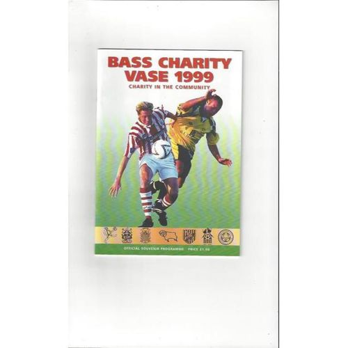 Bass Charity Vase 1999 Football Programme + 2 Team Sheets. Burton Albion, Derby County & Stoke City