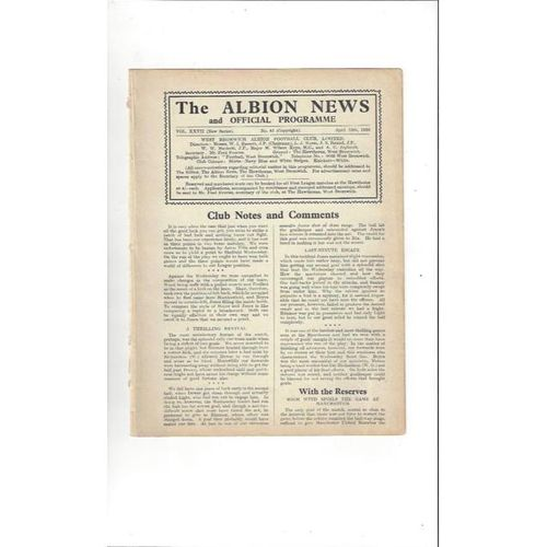 1935/36 West Bromwich Albion v Arsenal Football Programme
