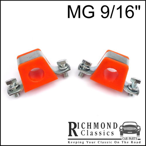 "MG Midget 1500 9/16"" Anti Roll Bar Bushes - Orange Polyurethane with Brackets"