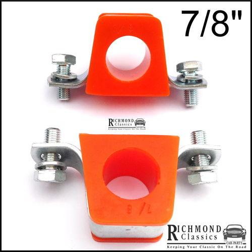 """MGB GT 7/8"""" Anti Roll Bar Polyurethane Bushes in Orange with Brackets"""