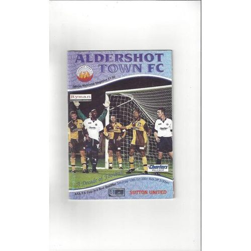 2001/02 Aldershot Town v Sutton United FA Cup Football Programme