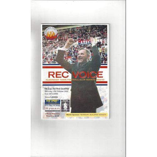 Aldershot v Lewes FA Cup Football Programme 2002/03