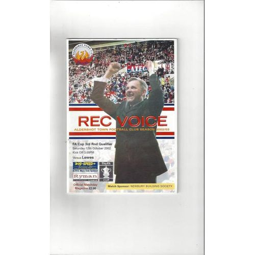 2002/03 Aldershot Town v Lewes FA Cup Football Programme