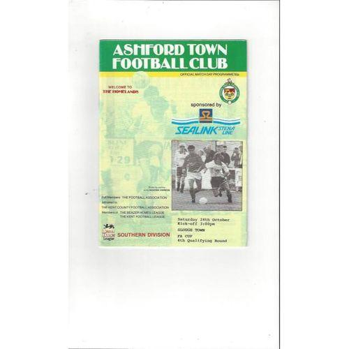 1992/93 Ashford Town (Kent) v Slough Town FA Cup Football Programme