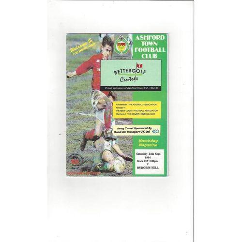 Ashford Town (Kent) v Burgess Hill FA Cup Football Programme 1994/95