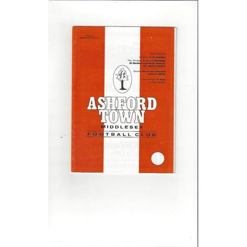 1996/97 Ashford Town (Middx) v Slade Green FA Cup Football Programme