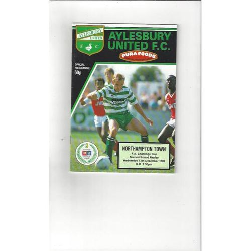 Aylesbury United v Northampton Town FA Cup Football Programme 1989/90