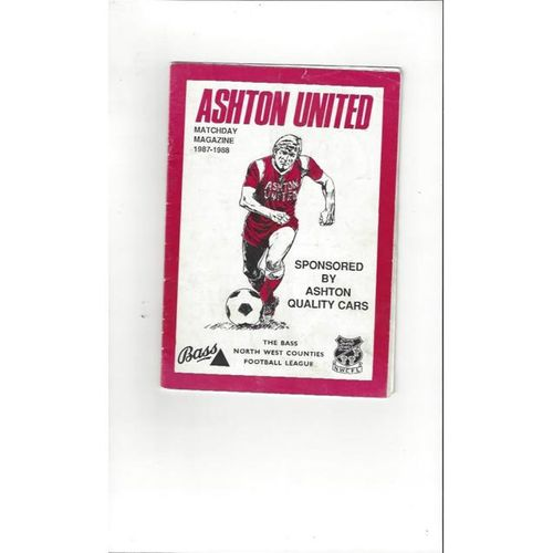 Ashton United v Kirkby Town FA Cup Football Programme 1987/88
