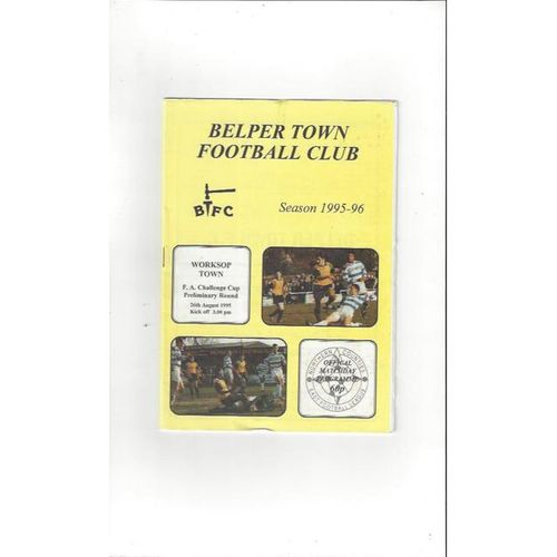 1995/96 Belper Town v Worksop Town FA Cup Football Programme